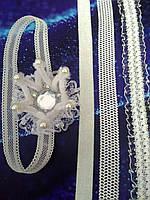 Повязка Корона белая для новорожденных и маленьких принцесс, фото 1
