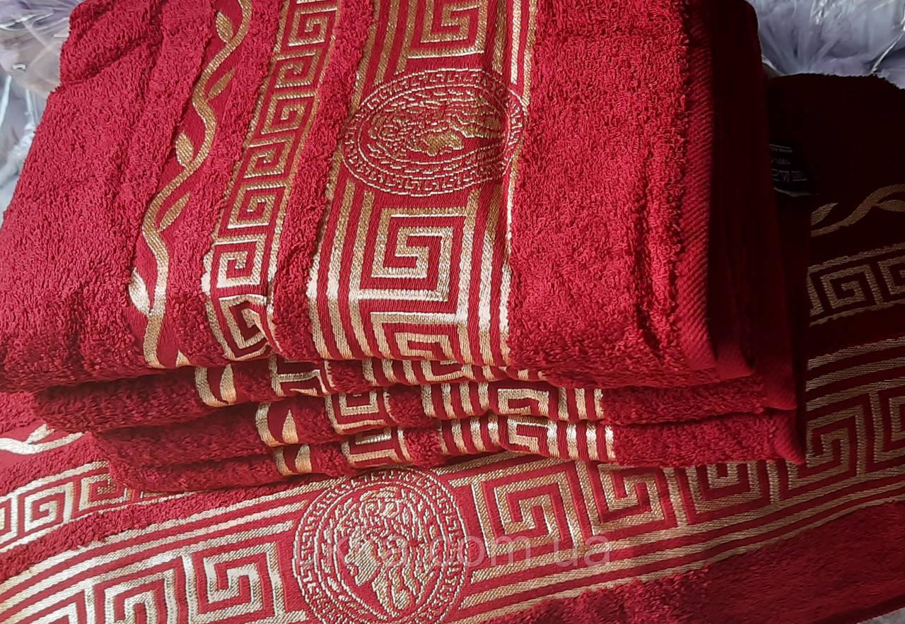 Махровое полотенце баня 70х140 бордо 100% хлопок Узбекистан Афина