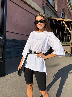 Модный летний женский костюм футболка с поясом и велосипедки