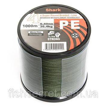 Шнур Shark темно зелений 4x PE 1000м