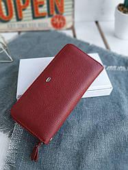 Женский кожаный кошелек размером 19x9,5x3 см Красный (3551)