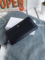 Женский кожаный кошелек размером 19x9,5x3 см Черный (3552)