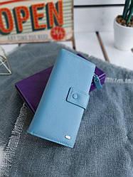 Жіночий шкіряний гаманець розміром 9,5x19x3 см Блакитний (3553)