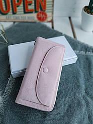 Жіночий шкіряний гаманець розміром 20х10х3,5 см Світло-рожевий (3555)