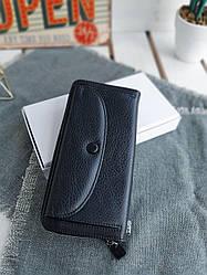 Жіночий шкіряний гаманець розміром 20х10х3,5 см Чорний (3556)