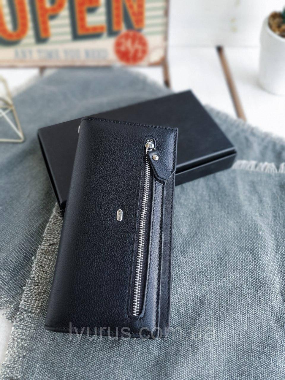 Женский кожаный кошелек размером 19,5x10,5x3 см Черный (3558)
