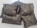Комплект подушок коричневі з бронзовим малюнком, 5шт, фото 2