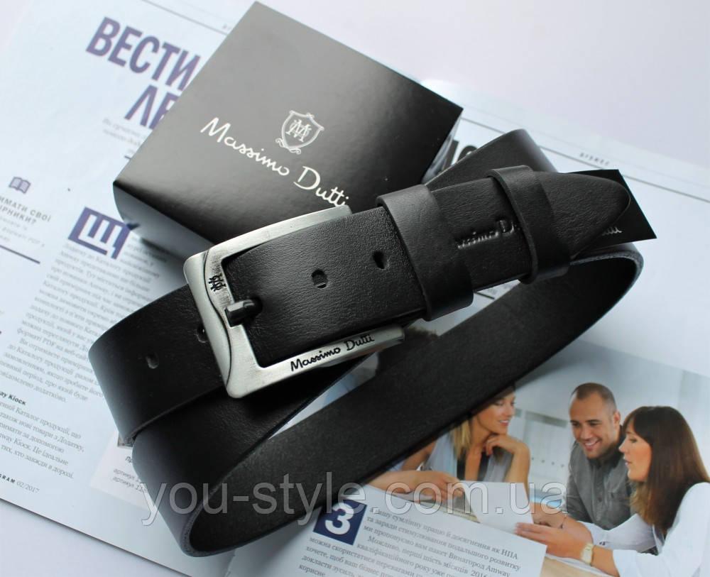 Мужской кожаный ремень Massimo Dutti черный