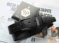 Мужской ремень с черной пряжкой Philipp Plein черный, фото 1