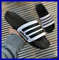 Шлепки мужские adidas black черные (Размеры: 40, 41, 42, 43, 44, 45, 46)