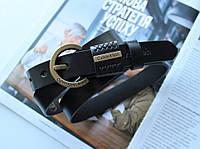 Женский узкий кожаный ремень Calvin Klein черный, фото 1