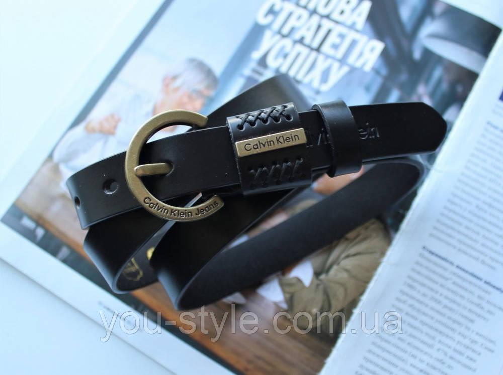 Женский узкий кожаный ремень Calvin Klein черный