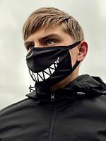 Защитная маска чёрная принт Улыбка, фото 1