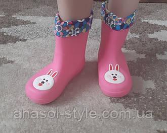 Резиновые сапоги галоши для девочки с подкладкой  розовые