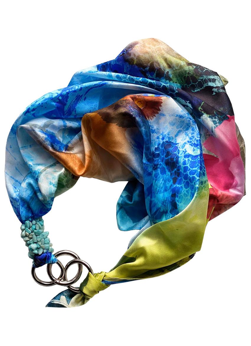 "100% шелковый платок ""Голубой  океан"", шарф-колье, шарф-чокер, шейный платок My Scarf"