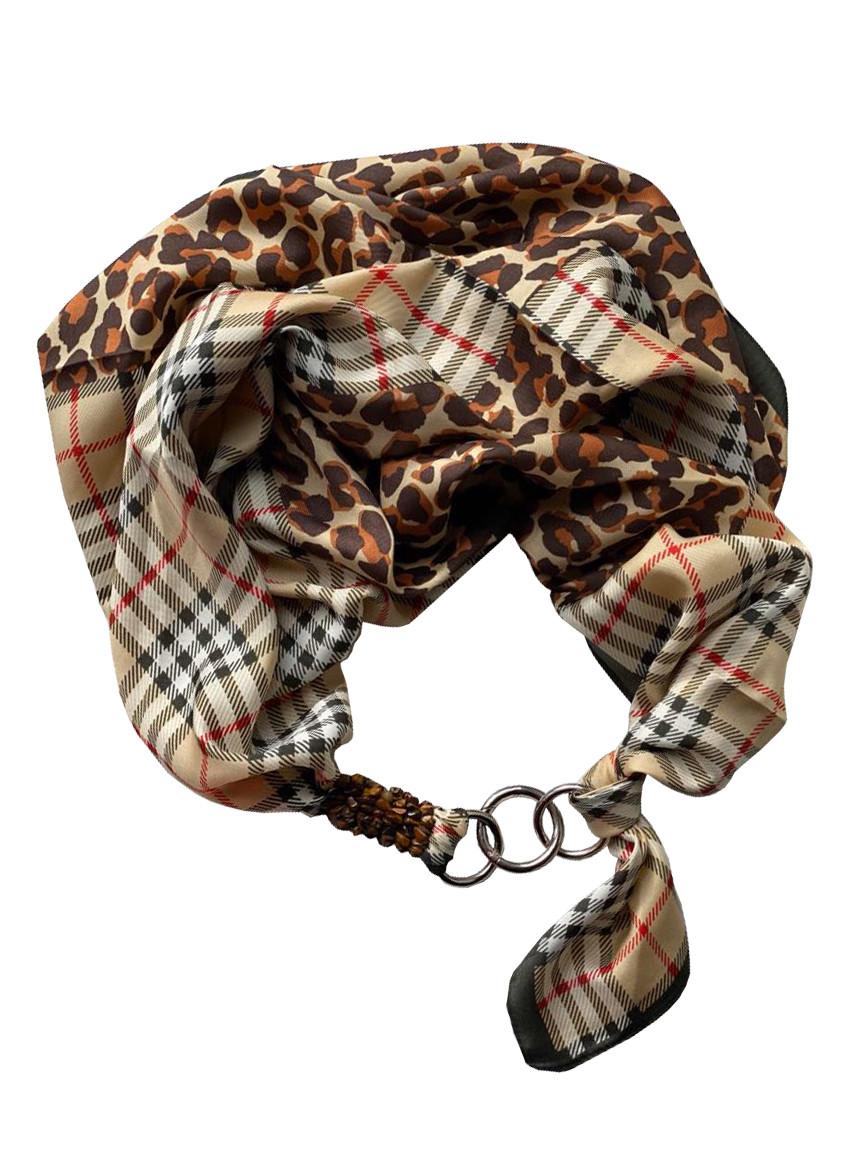 "Атласный платок ""Английский силуэт"", шарф-колье, шарф-чокер, шейный платок My Scarf"