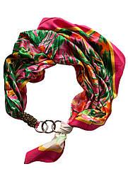 "Атласний хустку ""Весняний сад"", шарф-кольє, шарф-чокер, шийну хустку My Scarf"