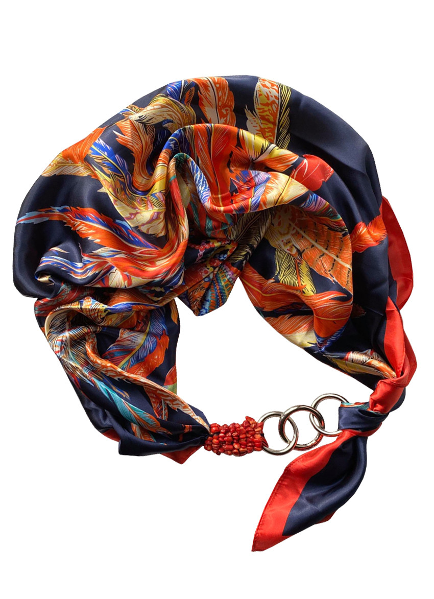 """Атласный платок """"Птица счастья"""", шарф-колье, шарф-чокер, шейный платок My Scarf"""