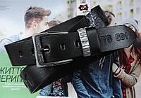 Мужской ремень для джинсов с тиснением Levis черный, фото 1