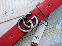 Женский кожаный красный ремень Gucci пряжка хром, фото 1