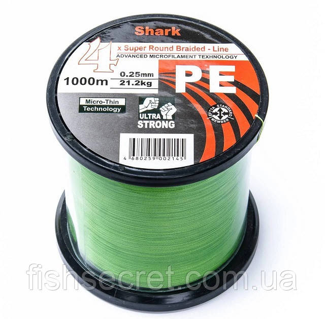 Шнур Shark яскраво зелений 4x PE 1000м