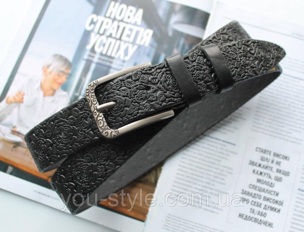 Женский кожаный ремень с цветочным узором черный