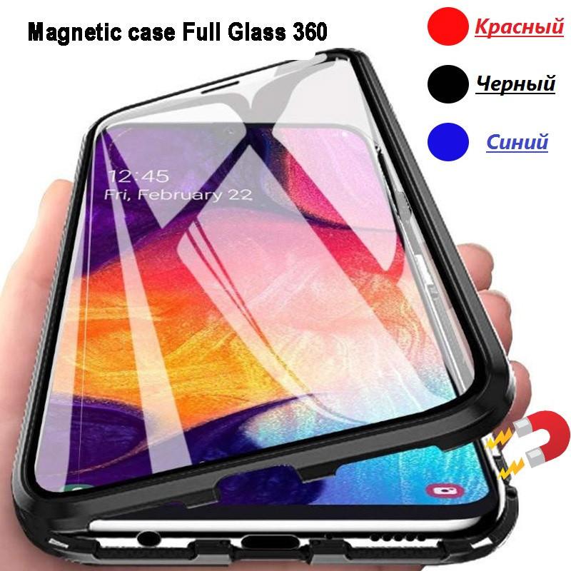Магнитный металл чехол FULL GLASS 360° для Xiaomi Mi 10 + стекло на камеру /