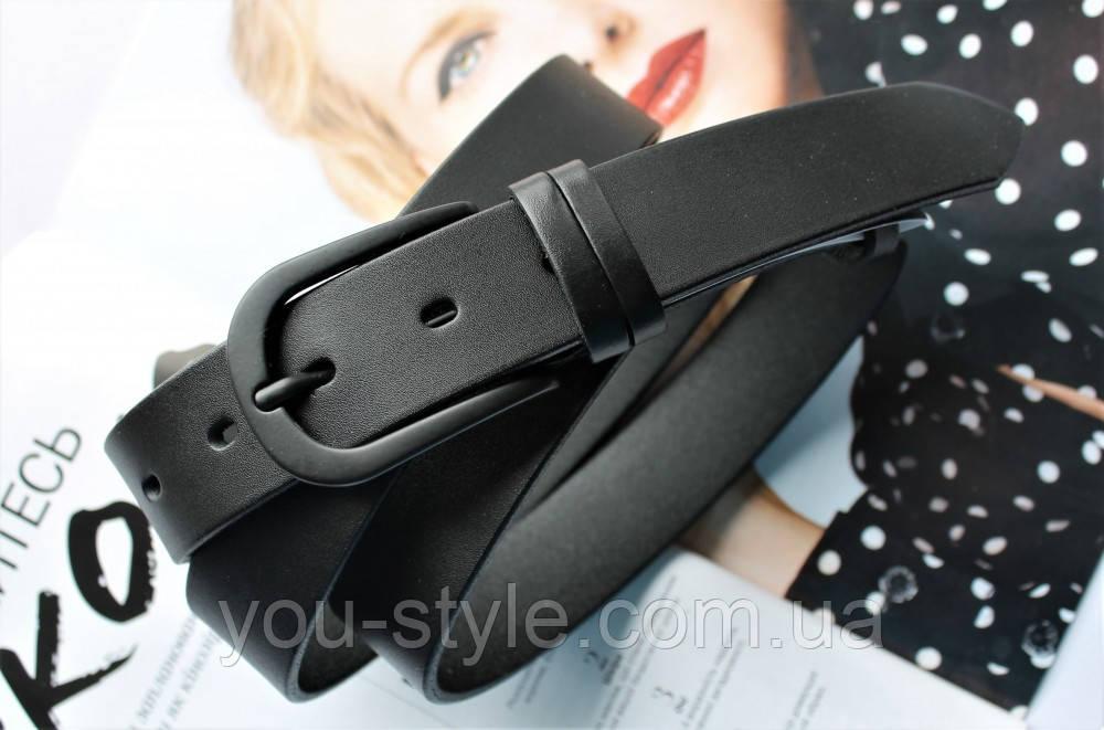 Женский стильный кожаный ремень черный
