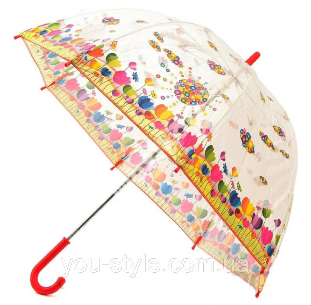 """Детский зонт Zest """"Тюльпаны"""" прозрачный"""
