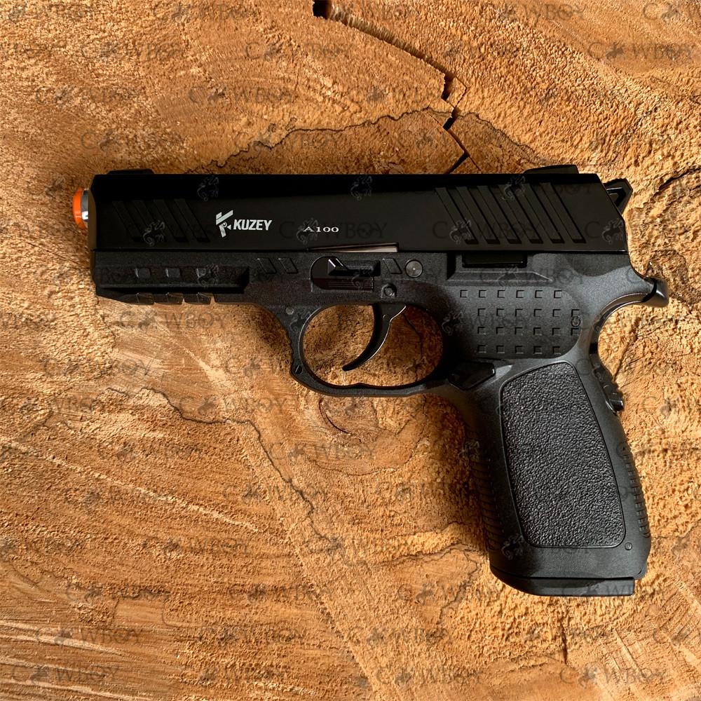 Пистолет стартовый KUZEY A100 черный с доп. магазином