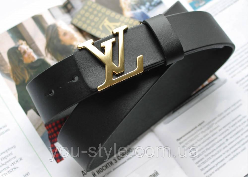 Кожаный ремень Louis Vuitton пряжка золото черный