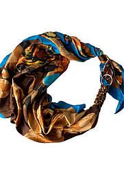 "Атласний хустку ""Золото на блакитному"", шарф-кольє, шарф-чокер, шийну хустку My Scarf"