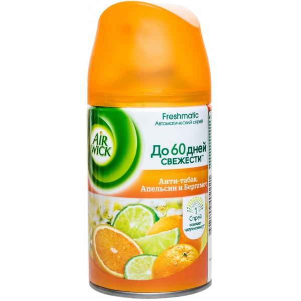 """Освежитель воздуха Air Wick Freshmatic """"Анти-табак. Апельсин и Бергамот"""", сменный баллон (250мл.)"""