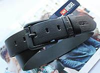 Мужской кожаный ремень для джинсов Diesel black, фото 1