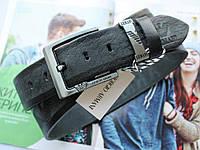 Мужской кожаный ремень для джинсов Armani black, фото 1