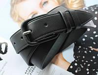 Женский кожаный моноцветный ремень черный, фото 1