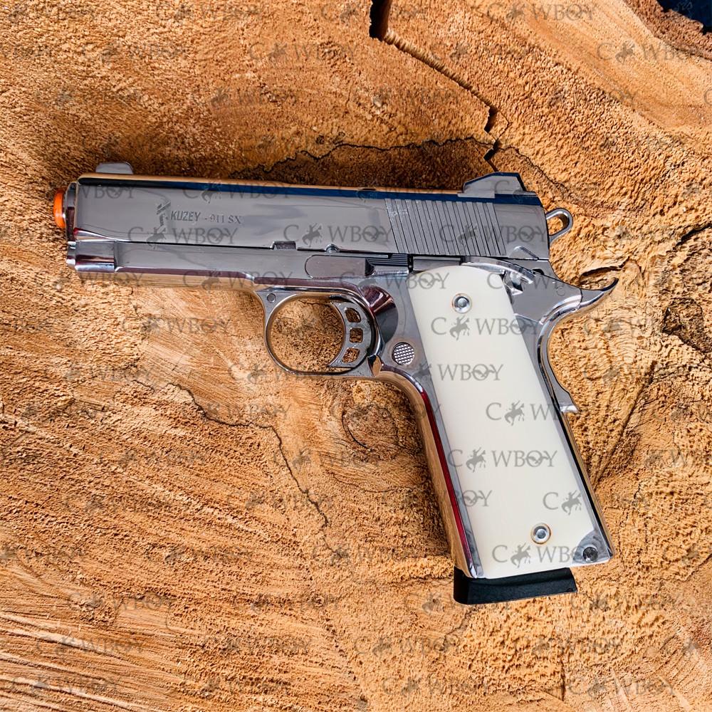 Пистолет стартовый KUZEY 911SX стартовый хром с доп. магазином