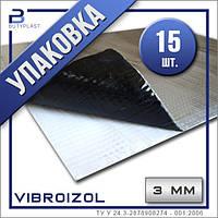 Виброизоляция Виброизол 3 мм, 500х600 мм, Ф-70 мкм.  Упаковка 15 шт   Vibroizol
