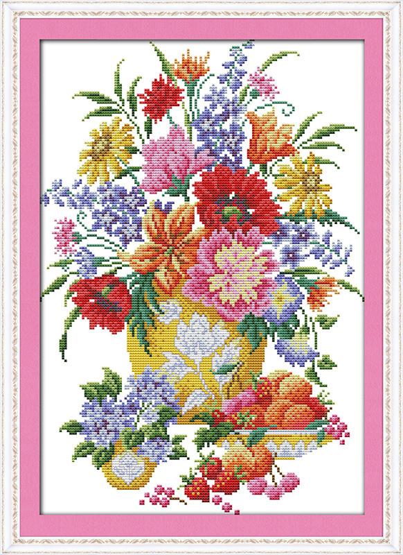 Набор для вышивки крестом с печатью на ткани NKF Цветы и ягоды 14ст  H313