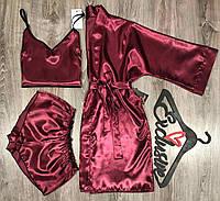 Вишневый набор женский для дома, халат-шорты-майка