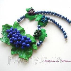 Колье с жемчугом и виноградом из полимерной бельгийской глины