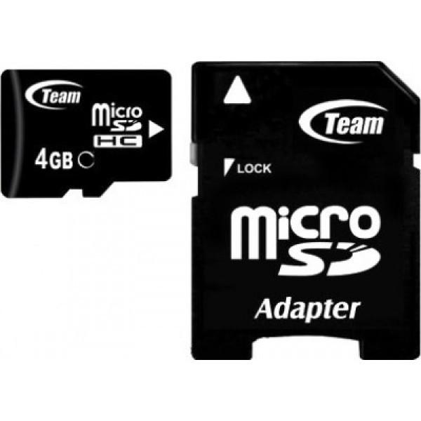 Карта памяти microSDHC Team 4Gb class 4 (adapter SD)
