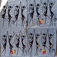 Банное хлопковое полотенце Танцующие кошки