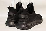 Чоловічі кросівки літні сітка, чорного кольору BAAS, на чорній підошві., фото 3