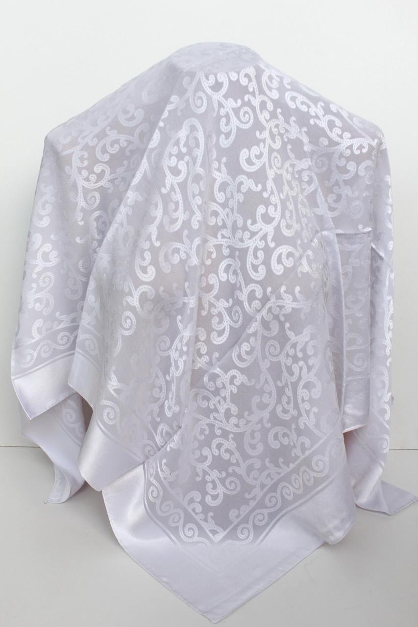 Платок белый свадебный церковный ажурный 230025
