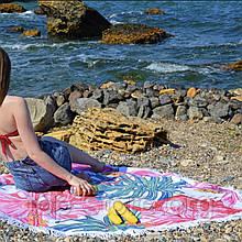 Пляжный коврик круглый Фламинго Размер 150*150 см.