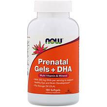 """Пренатальный гель с ДГК NOW Foods """"Prenatal Gels + DHA"""" для беременных и родивших женщин (180 гелевых капсул)"""