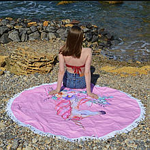 Пляжный коврик полотенце. Единорог Размер 150*150 см.