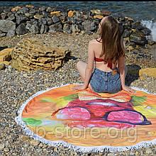 Пляжный коврик полотенце. Малина. Размер 150*150 см.