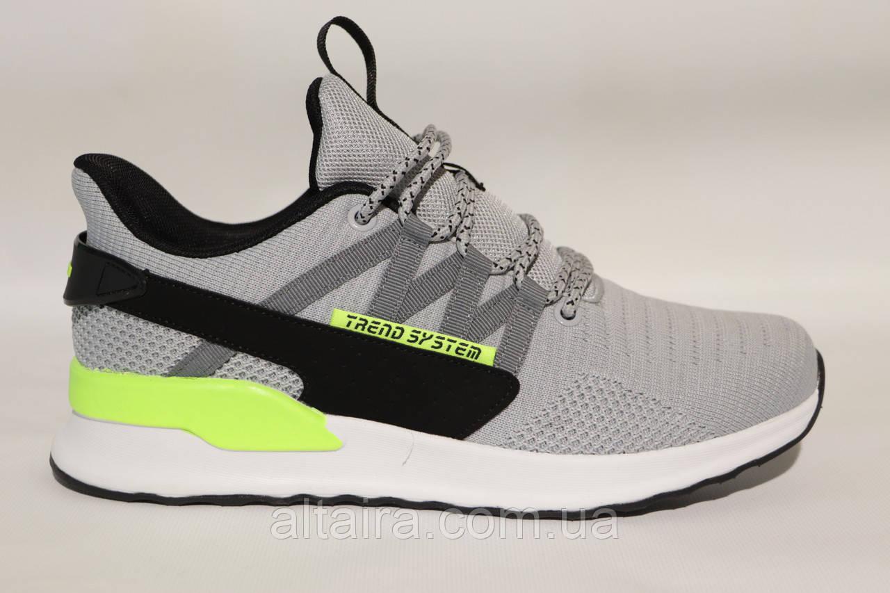 Чоловічі світло-сірі кросівки літні, сітка, BAAS, на білій підошві.44 розмір